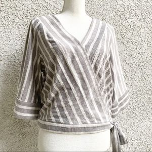 • Lucky Brand Faux Wrap Striped V-Neck Crop Top •